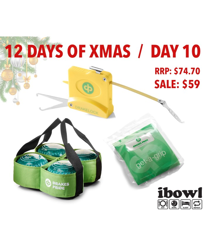 DAY 10 - FOUR BOWL CARRIER, DRAKELOCK STEEL MEASURE & GET-A-GRIP CLOTH
