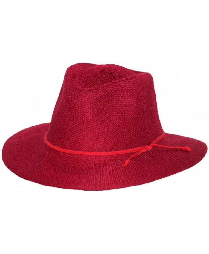 LADIES POPPY RED BROAD BRIM CANCER COUNCIL HAT