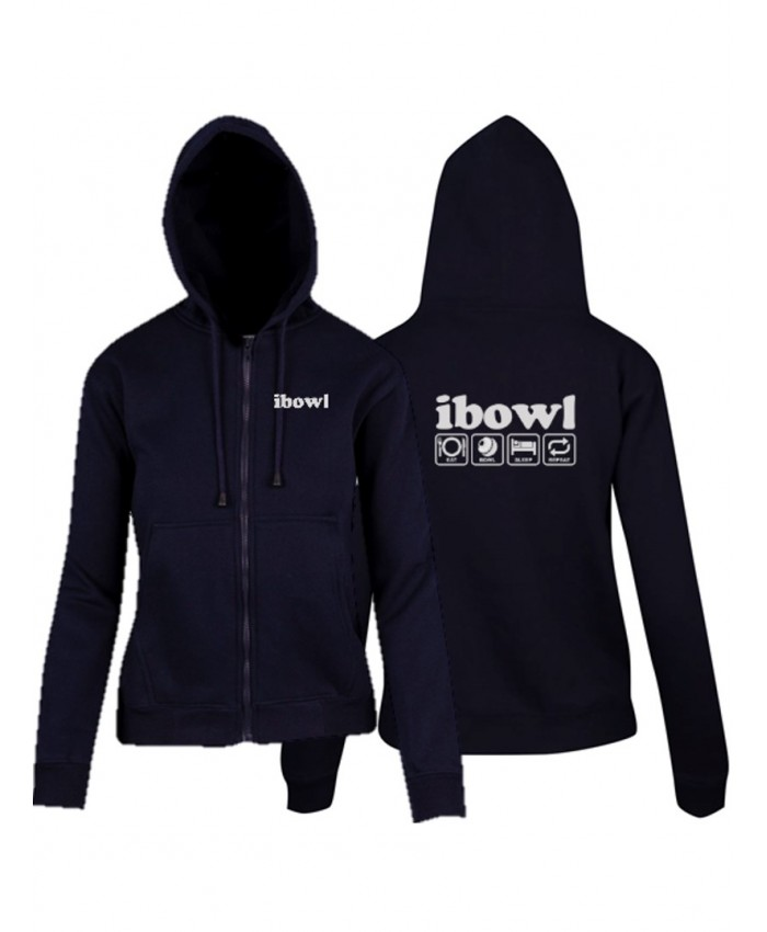 iBOWL NAVY HEAVY ZIP FLEECE HOODIE